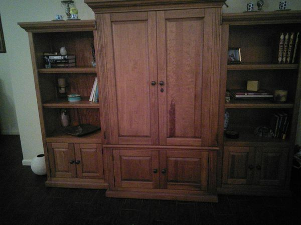 Entertainment center/ Wall Unit real wood for Sale in Boca Raton, FL ...