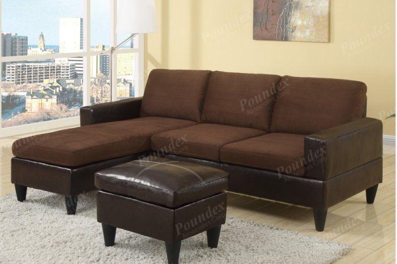 Chocolate sectional sofa and ottoman