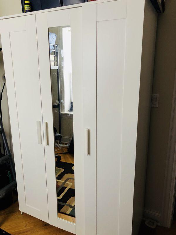 Great Ikea Brimnes Wardrobe Closet 3 Doors White For Sale