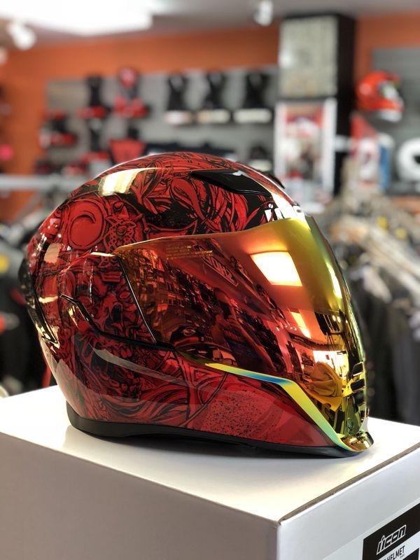 Icon Airflite Krom Helmet Size Medium With Red Iridium