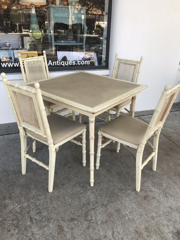 Vintage Stakmore Table And 4 Folding Chairs For Sale In