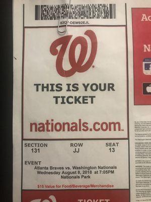 2 Washington National Tickets for Sale in Washington, DC