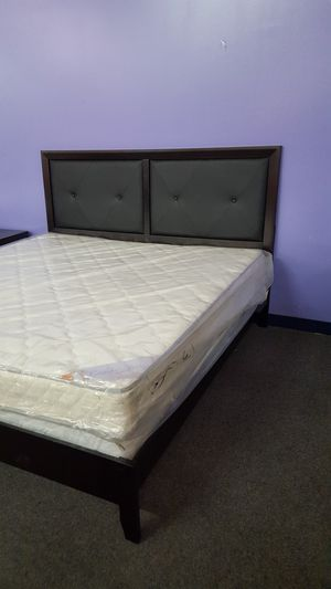 Brand New King Size Wood/Leather Bed Frame ONLY for Sale in Silver Spring, MD