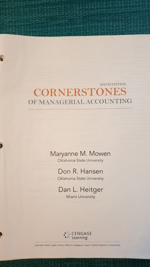 MANAGERIAL ACCOUNTING ( CORNERSTONE) for Sale in Houston, TX