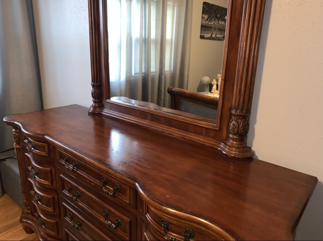 Wood Bed And Dresser