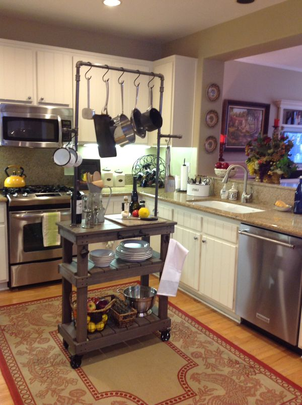 Rolling Kitchen Island cart with pot rack or laundry cart with retro  casters for Sale in Laguna Beach, CA - OfferUp