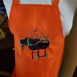 BBQ Me Some Food Orange Apron,embroidered  Thumbnail