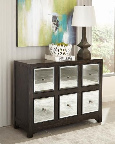 New Wooden Accent Cabinet with Mirrored Drawers