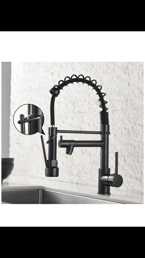 Spring Kitchen Sink Faucet,Modern Single Handle Oil Rubbed