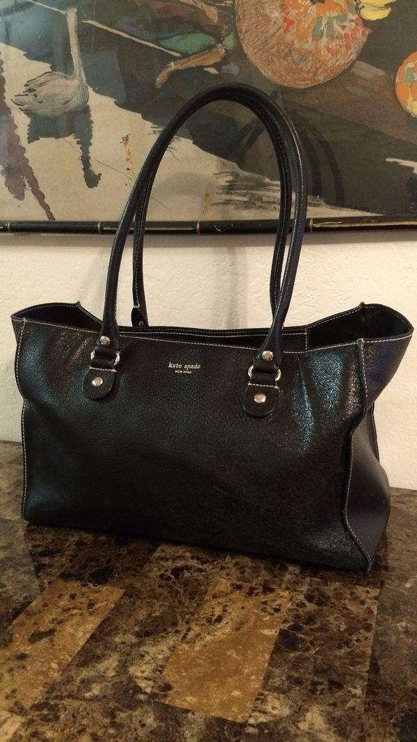 c34882ac2f1ec KATE SPADE NY black genuine grained leather Large shopper style tote  carryall satchel shoulder bag purse