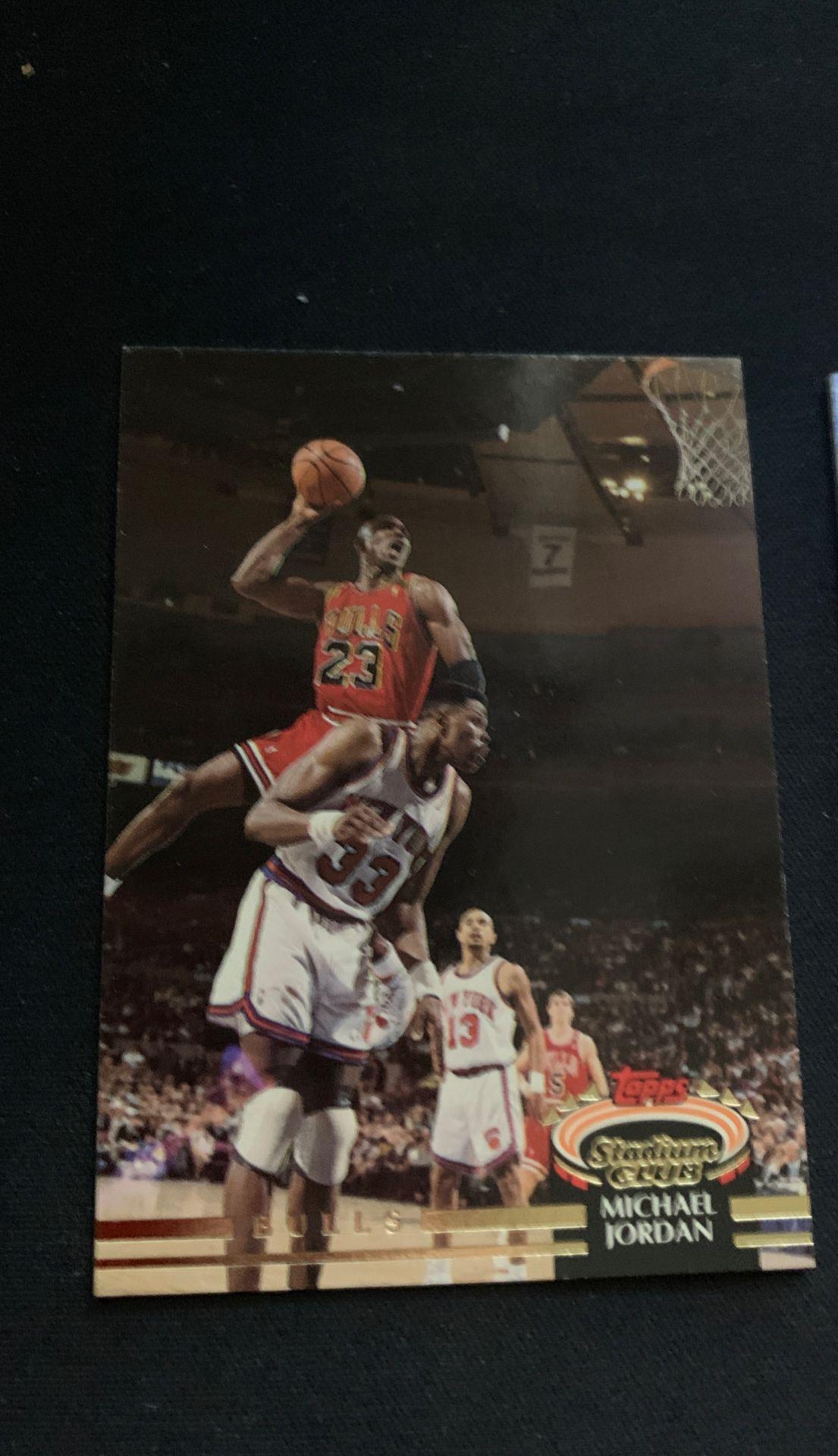 Michael Jordan stadium card+ Richard Jefferson worn shooting shirt card