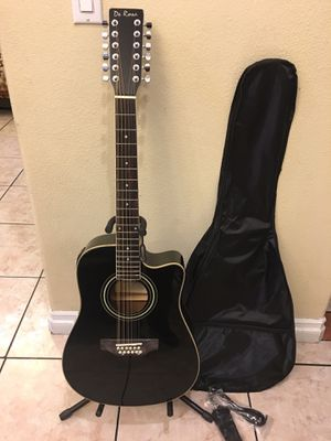 Photo De Rosa 12 string electric acoustic guitar with soft case strap cable and pick