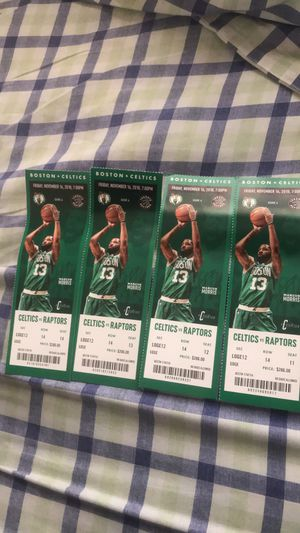 celtics tickets to tommorows game vs raptors 11/16 for Sale in Medford, MA
