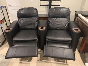 Berkline Leather Reclining Theater Seats (2) for Sale in Ashburn, VA