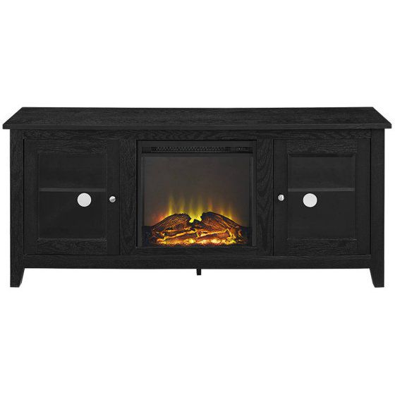 Wood Tv Stand With Fireplace For Tvs Up To 60 Black Sku 44021