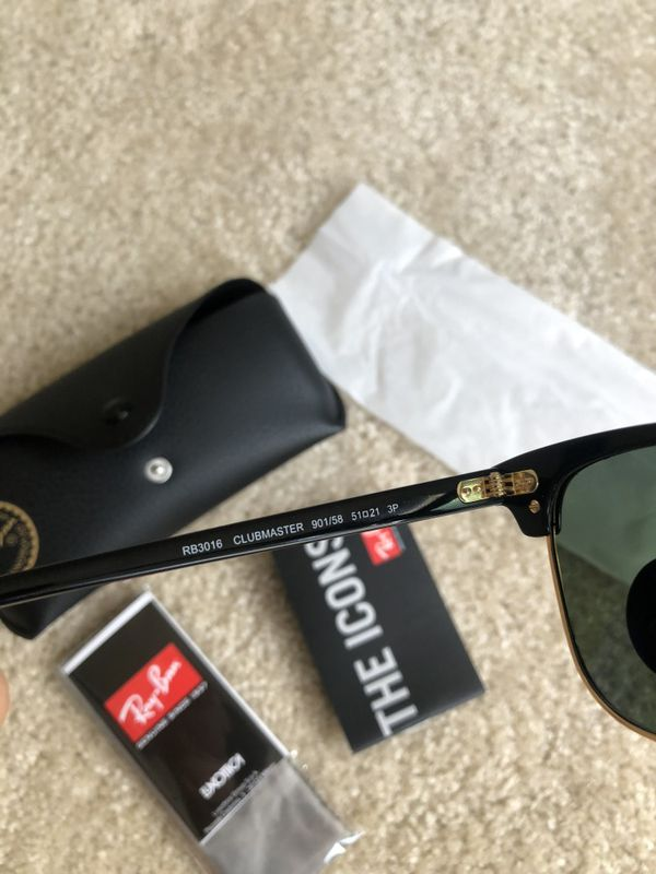 2193a68dff6ea New Original Polarized Black Ray-Ban Clubmaster Sunglasses Rayban  Clubmasters RB3016 for Sale in Irvine