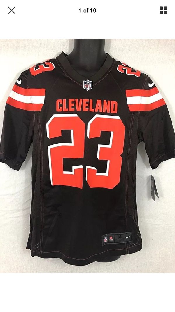 Nike Joe Haden  23 Cleveland Browns Silk Screened Game Day On Field Men s  Jersey Size Medium 679279 Brown Orange White Brand New With Original Tags R  for ... 53a91fa3e