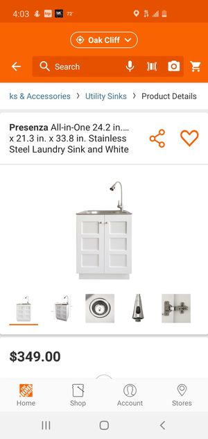 Photo Presenza All-in-One 24.2 in. x 21.3 in. x 33.8 in. Stainless Steel Laundry Sink and White Cabinet with Reversible Doors