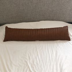 Brown Faux Leather Lumbar/ Body Pillow - Project 62 Thumbnail