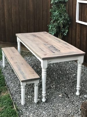 Allen Tx Reclaimed Wood Oak Dining Set Table And Bench Spindle Barade Farmhouse Rustic Gray White For