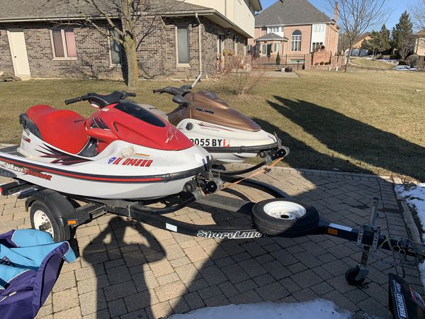 Jet skis with double trailer