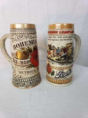 Amazing pair of Stroh's Beer steins. Retired. Collectible for Sale in North Potomac, MD