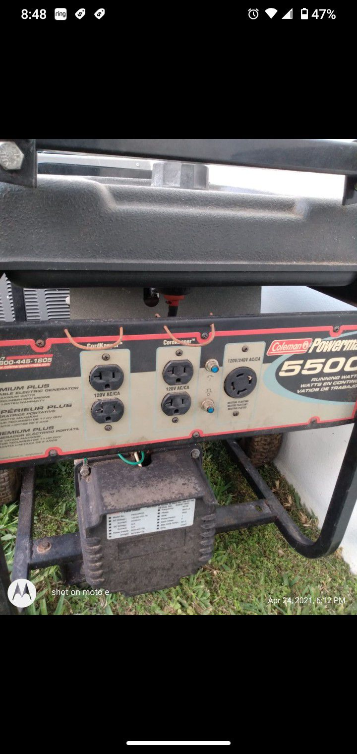 Photo Coleman PowerMate Generator 11 HP Tecumseh Engine Starts right Up 4 Outlets Work perfect RV Outlet works perfectGreat for Car wash business, foo