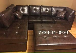 Brown leather sectional sofa couch!! Brand new free delivery for Sale in Chicago, IL