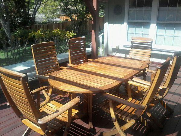 Teak Herlag German Manufacturer 7 Piece Patio Dining Set Lafayette