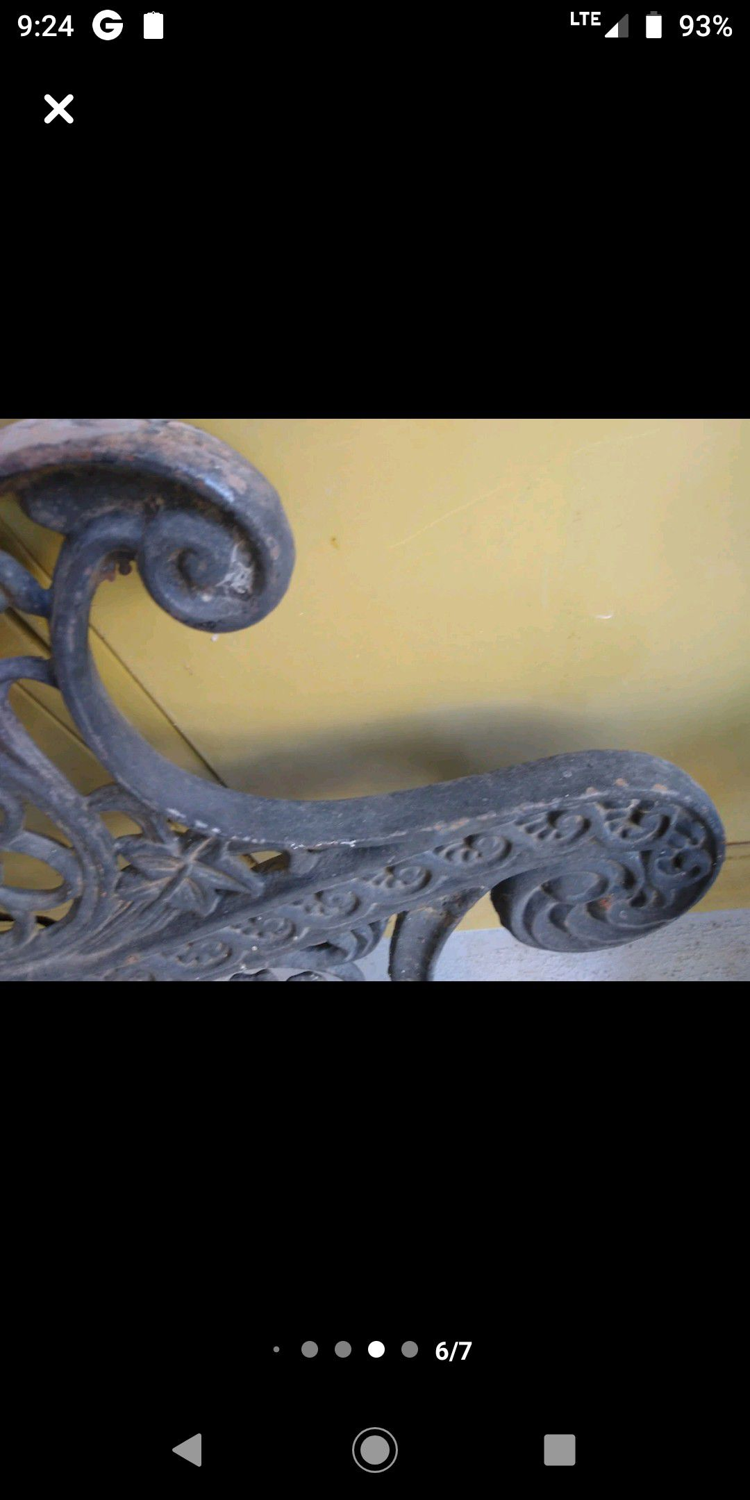 Wrought ironed bench ends