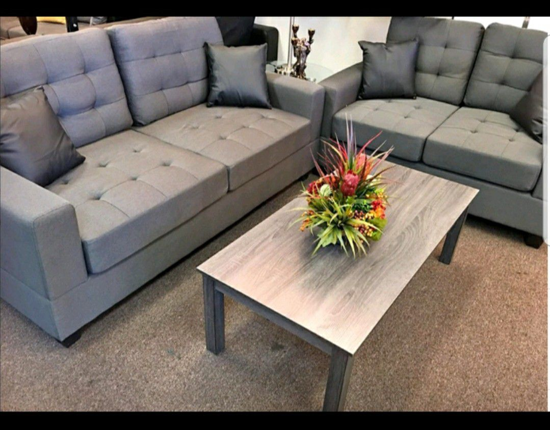 Brand New 2pc. Grey Sofa and Love Seat