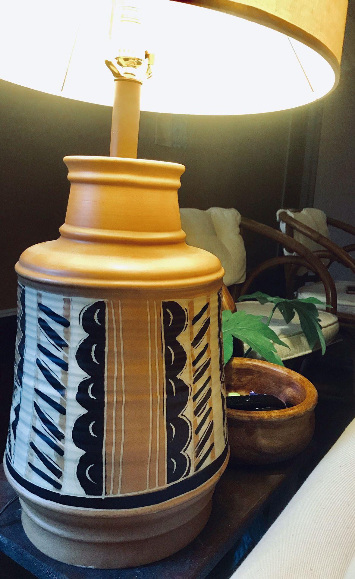 Vintage Native American Style Large Handmade Painted Terra-cotta Table Lamp