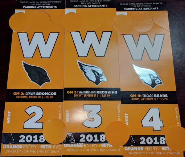 2c94cc7d (5) Orange West Great Lawn Arizona Cardinals Single game or Season Bears  49ers Broncos Raiders Redskins Seahawks Lions Rams parking passes for Sale  in ...