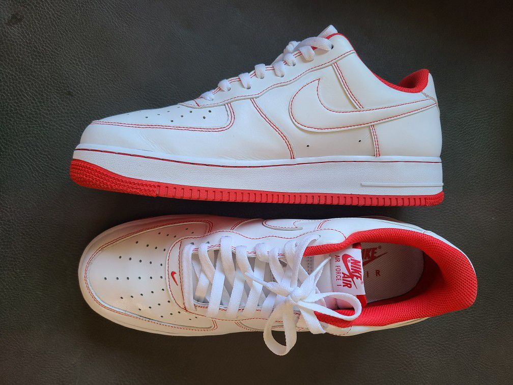 Nike Air Force 1 '07 Low White/ University Red Men's Size 13