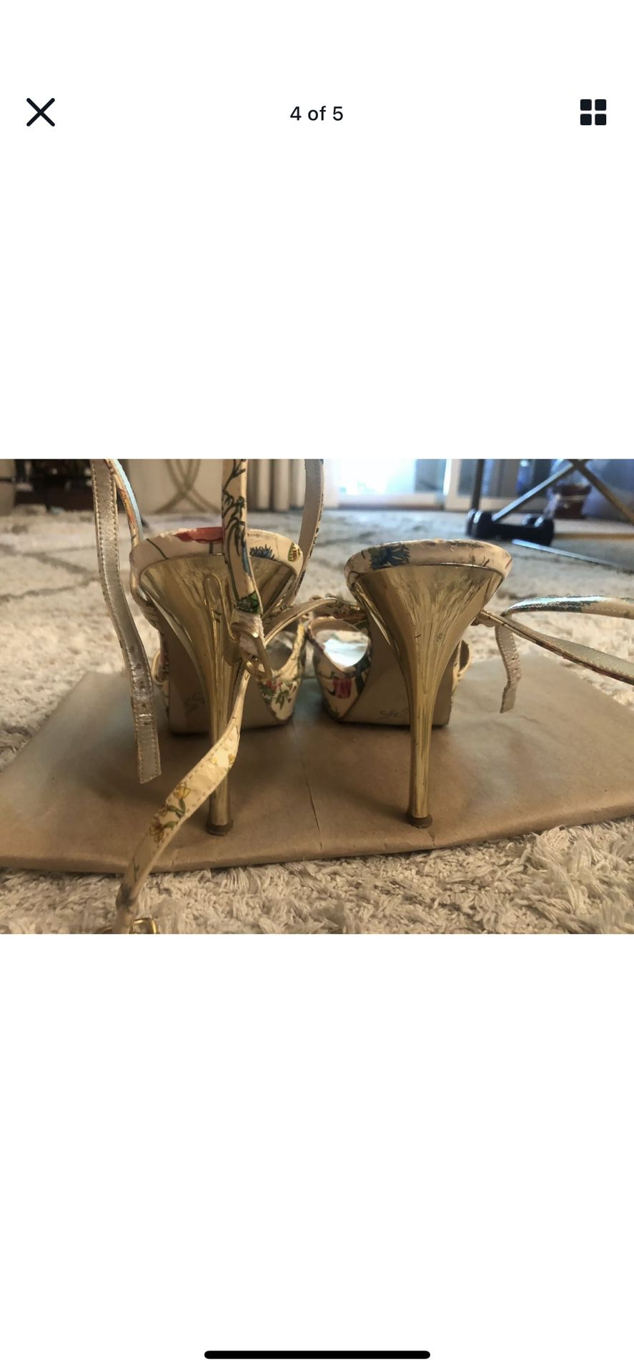 Guess Marciano Empower Patent Floral Ankle Wrap Strap Platform Gold Heels 7