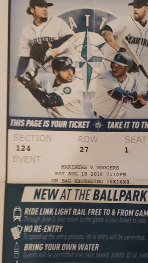 2 Mariners Tickets vs Dodgers 8/18 for Sale in Puyallup, WA