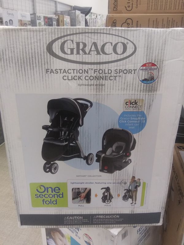 28cb8b0b1d82 Graco FastAction Fold Sport Click Connect Lightweight Stroller w  SnugRide  35 Car Seat Travel System Brand New