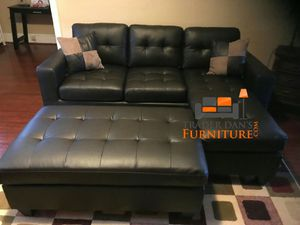 Brand New Espresso Bonded Leather Sectional Sofa Couch + Ottoman for Sale in Chevy Chase, MD