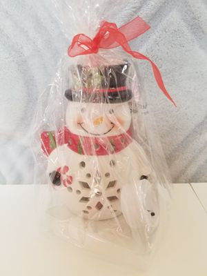 Photo Christmas snow man decoration, unopened, with light up light