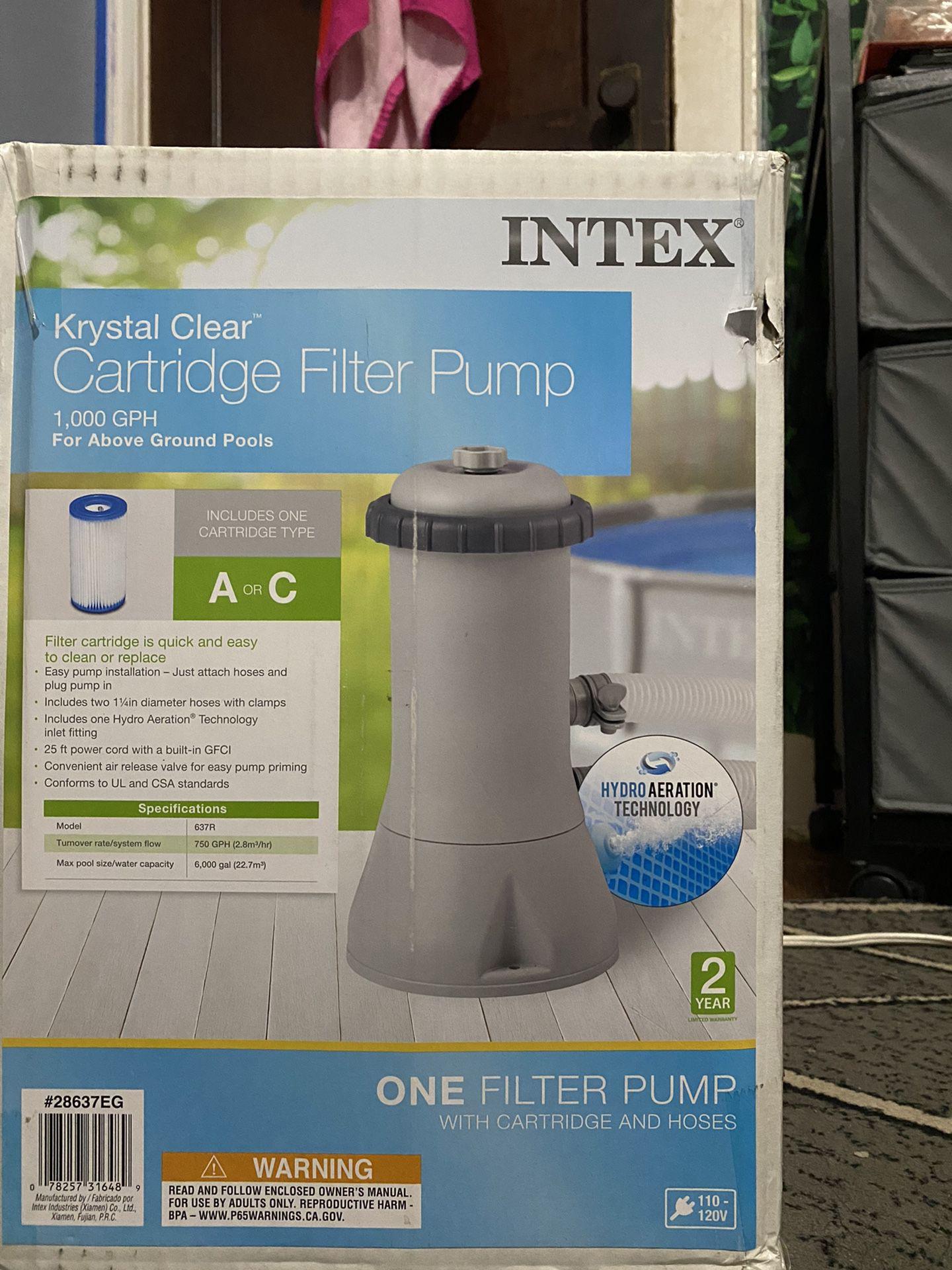 Brand New  , Unopened Krystal Clear Intex Filter 1000gph
