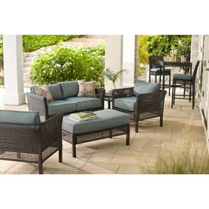 Hampton Bay 4-Piece Wicker Outdoor Patio Seating Set with Peacock Java Patio Cushion(HAR) for Sale in Houston, TX
