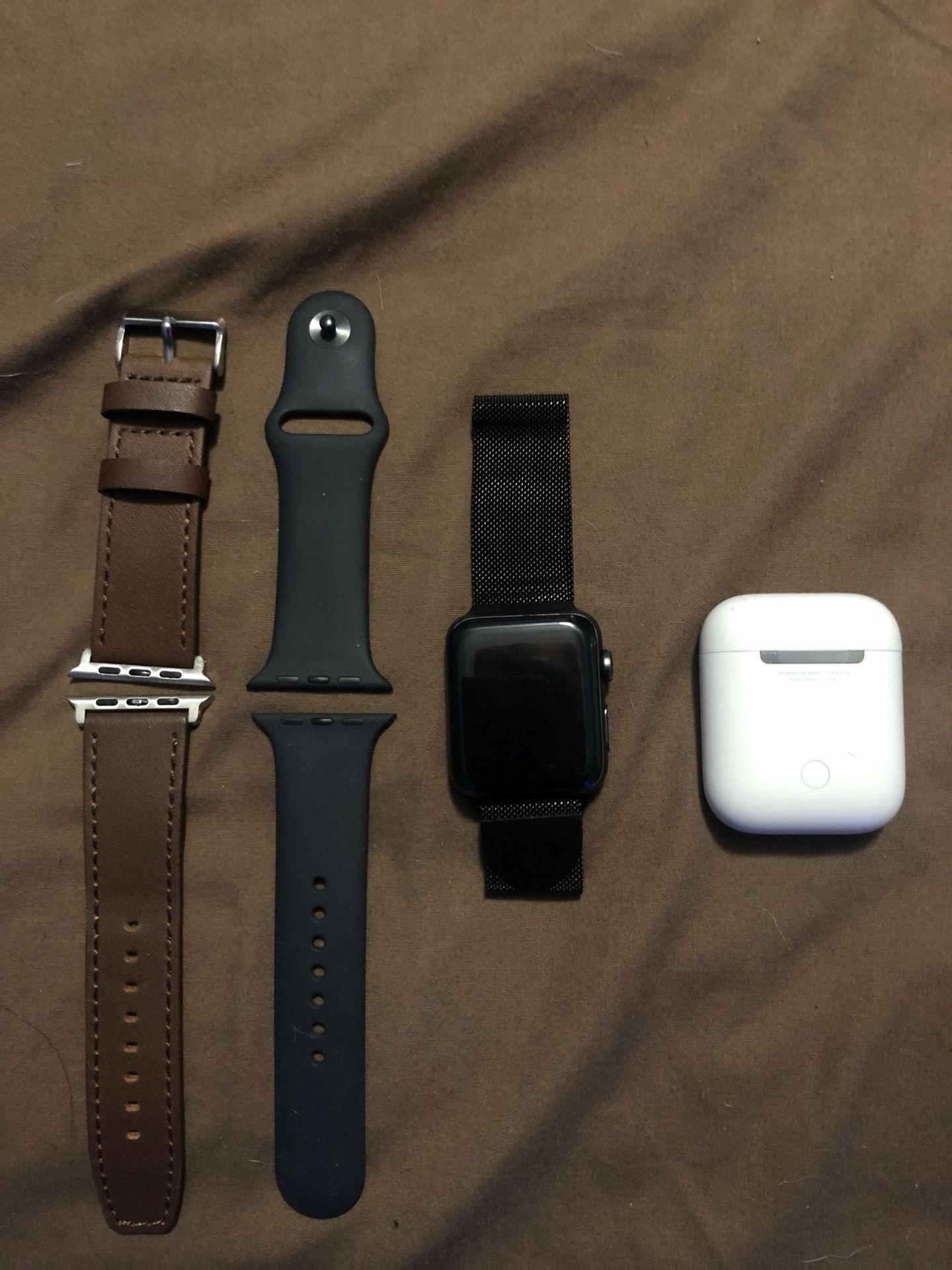 Apple Watch series 3 with 3 bands and AirPods