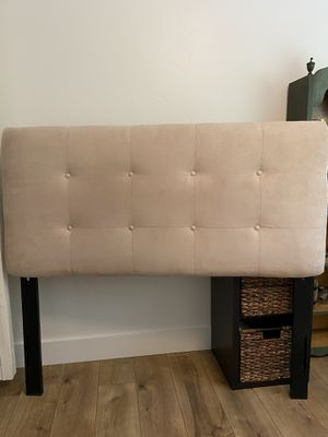 Photo Tan Suede Tufted Full Size Headboard