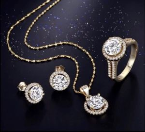 New 18 k yellow gold necklace earrings and engagement wedding ring set for Sale in Orlando, FL