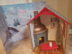 Photo American girl doll playset toy cabin
