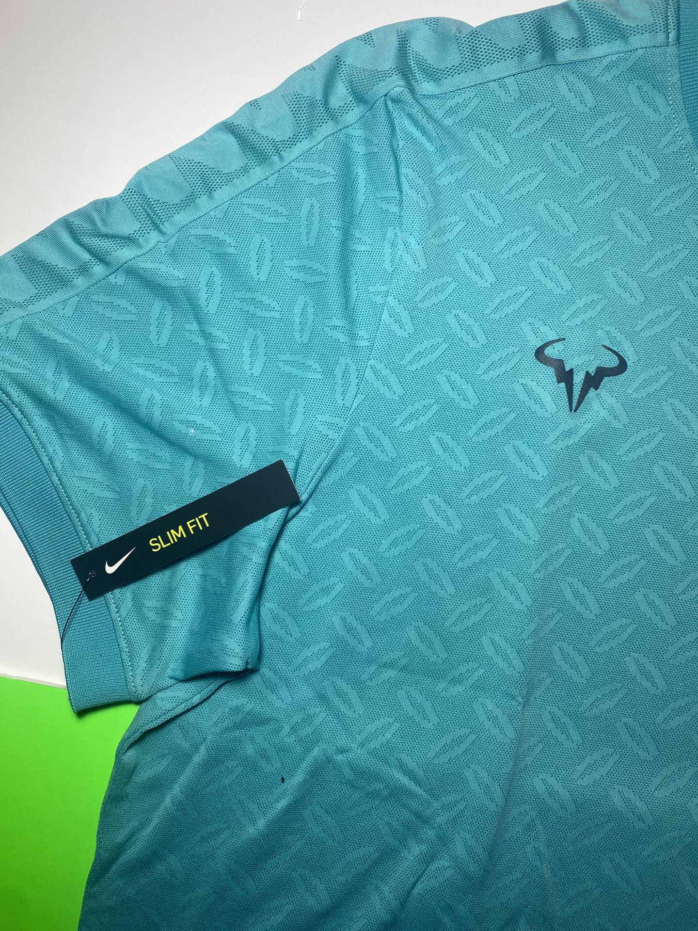 Men's Nike NikeCourt AeroReact Rafa Tennis Shirt Hyper Jade AT4182-317 Size L