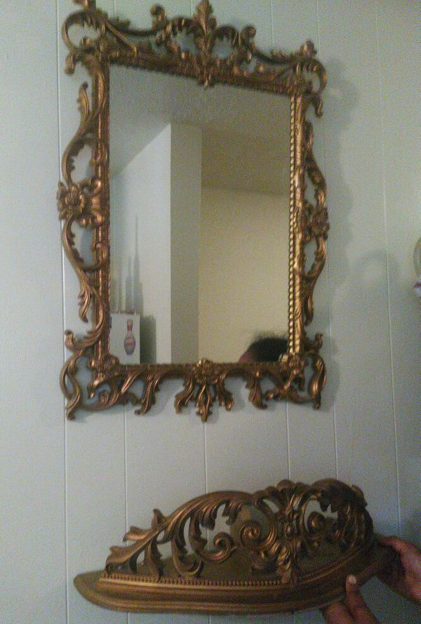 Mid Century Gold Framed Mirror W Shelf Turner Wall Accessory P100 For In Kansas City Mo Offerup