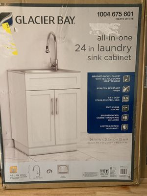 Photo Brand new all in one 24.2 in x 21.3 x 33.8 stainless steel laundry/utility sink and cabinet firm price