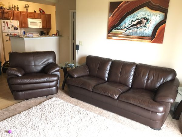 Leather Couch And Recliner Like New For Sale In San Antonio Tx Offerup