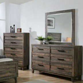 Tacoma Rustic Brown Panel Bedroom Set 👉$39 DOWN payment only 100 days same as cash